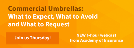 New webinar from Academy of Insurance: Commercial Umbrellas - this Thursday!
