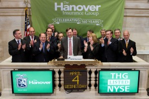 Hanover CEO Frederick Eppinger and other company executives at the ringing of the closing bell at the New York Stock Exchange on April 4, 2012. The insurer was celebrating its 160th year.