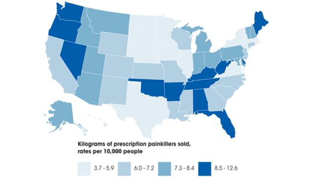 The quantity of prescription painkillers sold to pharmacies, hospitals, and doctors' offices was 4 times larger in 2010 than in 1999. Enough prescription painkillers were prescribed in 2010 to medicate every American adult around-the-clock for one month. Credit: CDC