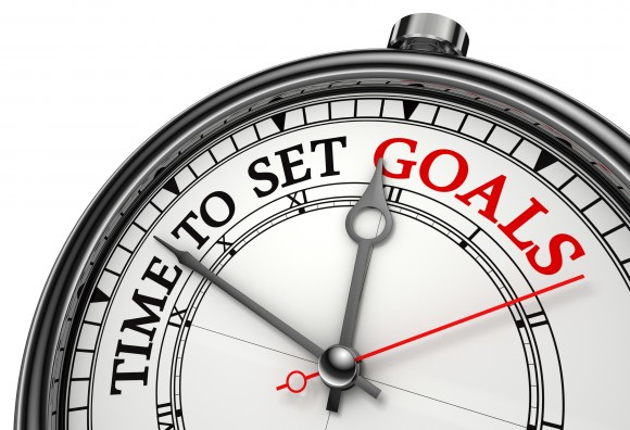 time to set goals concept clock