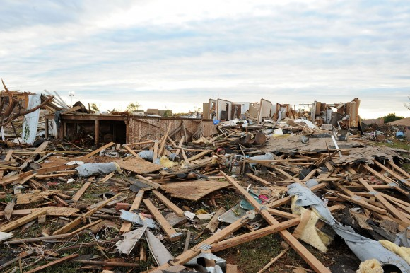Moore, Okla., May 21, 2013 -- Neighborhoods are destroyed from a tornado that passed through the area on May 20, 2013.