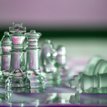 Chess pieces as a business concept in a series - themes of  strategy, leadership, winning, and survival.