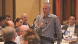 Motivational speaker Cameron Herold addressed the crowd at the Milestones in Leadership Conference on May 1 in Huntington Beach, Calif.