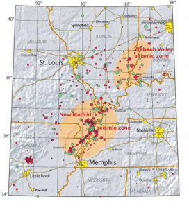 New Madrid and Wabash Valley Seismic Zones; Source - USGS