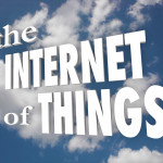 The Internet of Things words in white 3d letters in a cloudy sky illustrating a connected network of devices