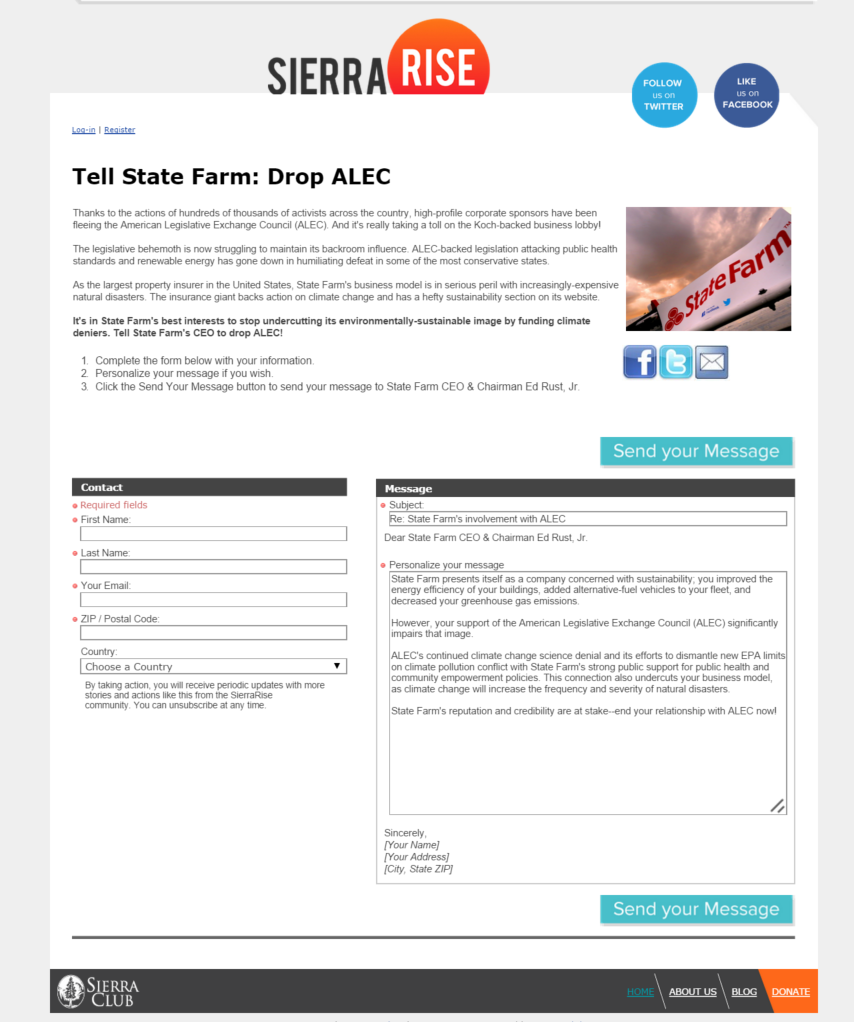 State Farm Online Quote Sierra Club Dragging State Farm Into Climate Change Battle