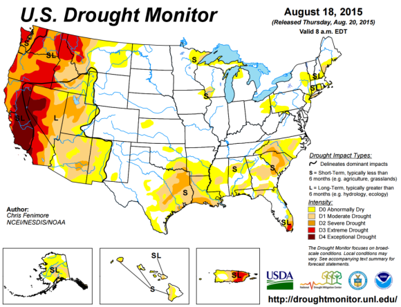 The latest U.S. Drought Monitor shows most of the West under drought conditions.