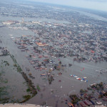 New Orleans, LA, Monday August 29, 2005 -- An aerial photograph from one of the first New Orleans Fly Over showing the flooding as a result of the breeched levees.  Marty Bahamonde/FEMA