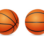 Two three-dimensional basketballs, front and half-turn view, isolated on white background. Vector EPS10 illustration.