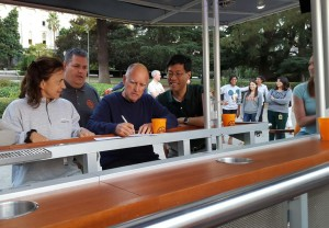 Gov. Jerry Brown signs a bill on beer bike to allow pedicabs to operate legally in California.