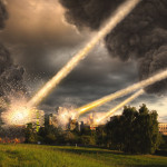 Meteorite shower destroying the city and buildings