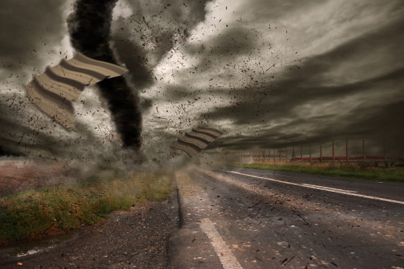 View of a large tornado destroying the landscape