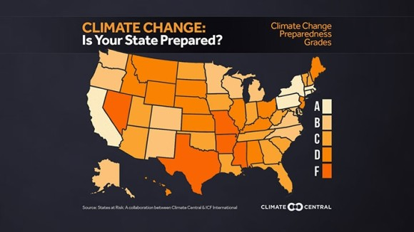 America's Preparedness report Card This report card explores the preparedness actions that each of the 50 states are taking in relation to their current and future changes in climate threats. Sources: ICF, Climate Central, States at Risk Project