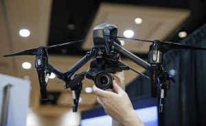 The DJI Inspire Raw drone helicopter is on display at CES Unveiled, a media preview event for CES International, Monday, Jan. 4, 2016, in Las Vegas. (AP Photo/John Locher)