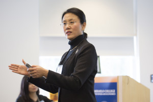 Qixiang Sun, dean of the school of economics at Peking University, and director of the China Center for Insurance and Social Security Research, spoke to a group of California insurance professionals in mid-January about China's burgeoning insurance marketplace. Photo courtesy of the Center for Insurance Studies at Cal State Fullerton University