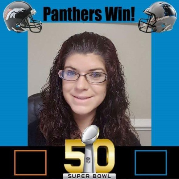 Jessica Klecz, personal and commercial lines CSR with Leaco Insurance Services, Inc., in Rocky Mount, N.C., used Photoshop magic to show she's a Panther's fan.