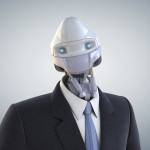 Robot dressed in a business suit on the bright background