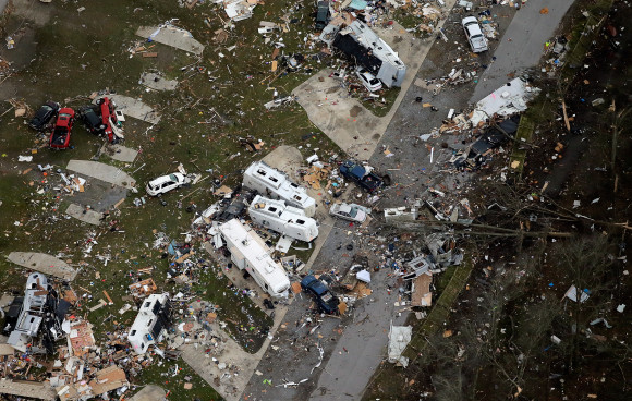 A tornado ripped through the Sugar Hill RV Park in the town of Convent, in southern La. (David Grunfeld/NOLA.com The Times-Picayune via AP)