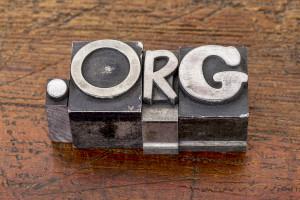 non-profit organization internet domain - dot org in mixed vintage metal type printing blocks over grunge wood