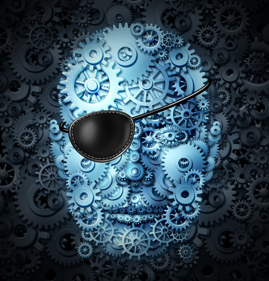 Robot revolution technology concept as a mechanical human as a bionic person with artificial intelligence or AI computing ability wearing a pirate eyepatch or eye patch as a symbol for the danger and risk of future advanced technologies.