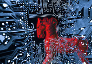 Trojan horse - symbol of a red trojan horse on blue computer circuit board background