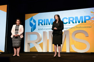 Mary Roth, CEO of RIMS (left) and RIMS President Julie Pemberton kicked off the annual meeting for risk management professionals. It's estimated more than 10,000 are in attendance at the event, which ends Wednesday.