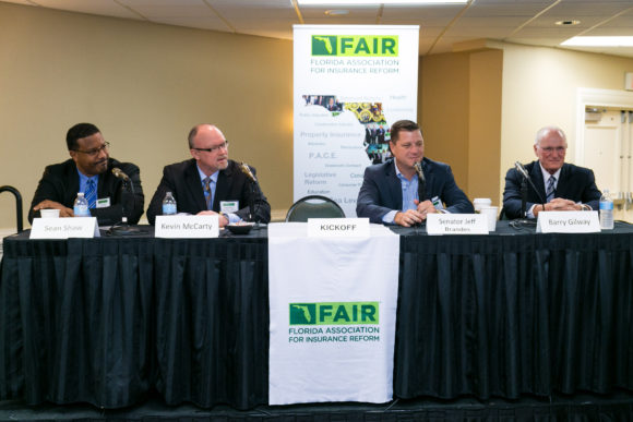 From left: Former Florida Consumer Insurance Advocate Sean Shaw; Outgoing Florida Insurance Commissioner Kevin McCarty; Florida State Senator Jeff Brandes; and CEO Of Citizens Property Insurance Corp. Barry Gilway discussed the assignment of benefit crisis at FAIR's Conference on April 28. Photography by: Knight Light Imagery