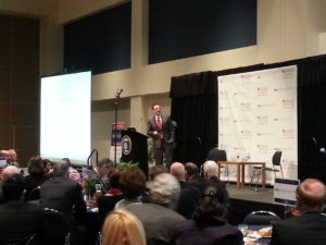 Robert Hartwig, an economist and president of the Insurance Information Institute, addressed a crowd of insurance students and industry professionals at Cal State University Fullerton.
