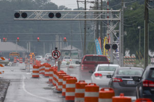 With stormy weather advancing ahead of Tropical Storm Colin traffic slows in Jacksonville, N.C., Monday, June 6, 2016. (John Althouse/The Jacksonville Daily News via AP)