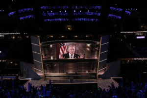 Donald Trump during the Republican National Convention (RNC) in Cleveland, Ohio, U.S., on Tuesday, July 19, 2016.  Photographer: John Taggart/Bloomberg
