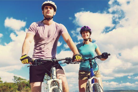 Bikers with helmets