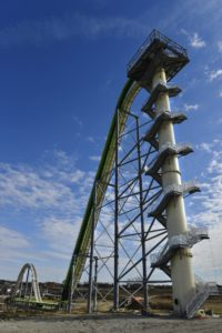 This Nov. 2013 file photo shows Schlitterbahn's new Verruckt speed slide/water coaster in Kansas City, Kan. A 12-year-old boy died Sunday, Aug. 7, 2016, on the Kansas water slide that is billed as the world's largest, according to officials. Kansas City, Kan., police spokesman Officer Cameron Morgan said the boy died at the Schlitterbahn Waterpark, which is located about 15 miles west of downtown Kansas City, Missouri. Schlitterbahn spokeswoman Winter Prosapio said the child died on one of the park's main attractions, Verruckt, a 168-foot-tall water slide that has 264 stairs leading to the top. (Jill Toyoshiba/The Kansas City Star via AP, File)