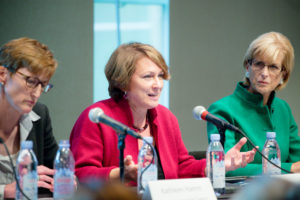 From left to right: Kathleen Hamm, Counselor to the Deputy Secretary of the U.S. Department of the Treasury, Inga Beale, CEO of Lloyd's and Governor Christine Todd Whitman discuss the forces shaping the global risk landscape, as well as the imperatives to build resilience into present thinking.