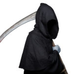 Grim reaper. Studio portrait isolated on white background