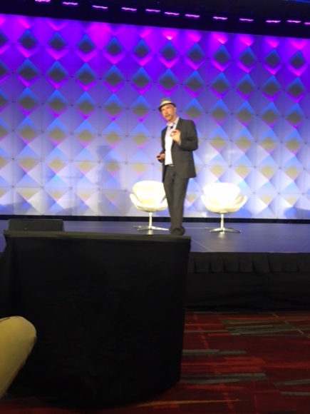 Venture capitalist Caribou Honig speaking at Insuretech Connect Conference in Las Vegas.