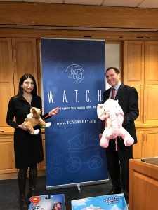 Consumer Advocates Joan E. Siff, president of W.A.T.C.H., and James A. Swartz, trial attorney and director of W.A.T.C.H., demonstrated toy hazards available online and in retail stores so parents know what traps to avoid when buying toys.