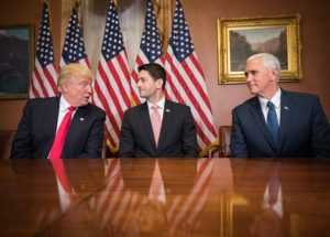 REPUBLICAN LEADERSHIP: L to r: President-Elect Donald Trump, House Speaker Paul Ryan, Vice President-Elect Mike Pence