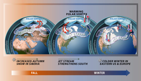 A warming of the Arctic region can actually lead to a disruption of the polar vortex and can bring colder weather south, according to Judah Cohen, director of seasonal forecasting at AER, a Verisk Analytics business.