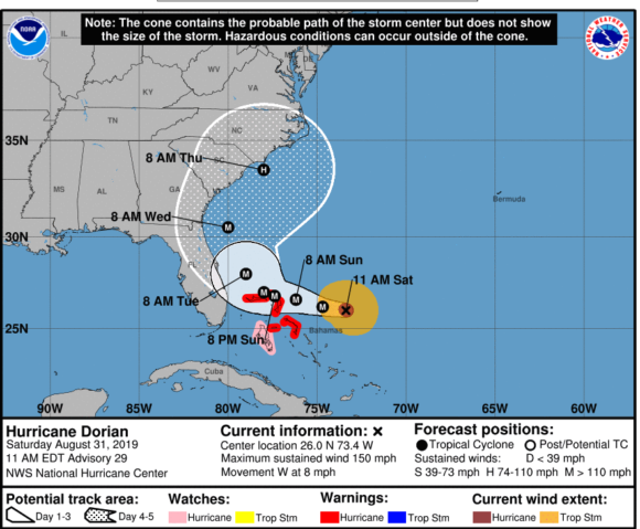 Forecasts now show Hurricane Dorian shifting north, putting Georgia, Carolinas at risk