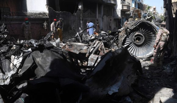 Airbus team scour Karachi crash site
