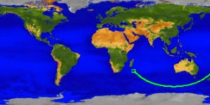 UARS splashdown site pinpointed.