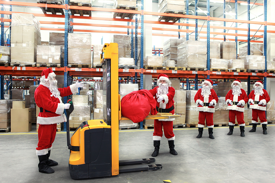 Santa in a warehouse
