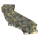 California map dollar bills