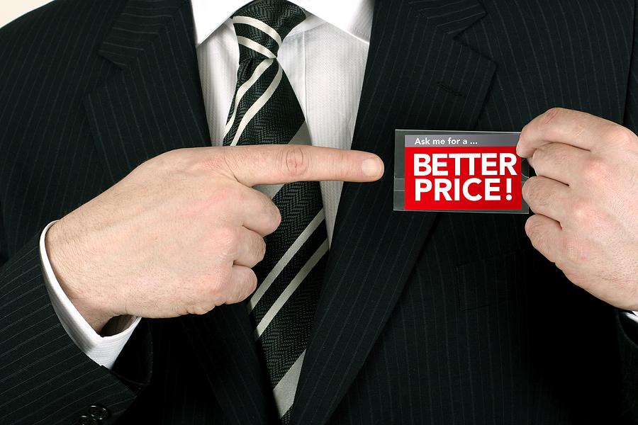 Salesman offering a bargain