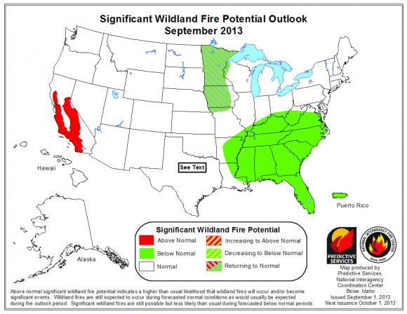 UPDATED Fire Outlook Map for September