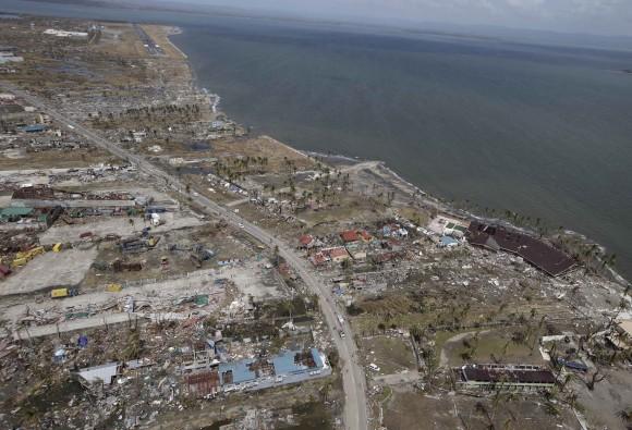 Philippines typhoon Haiyan aerial