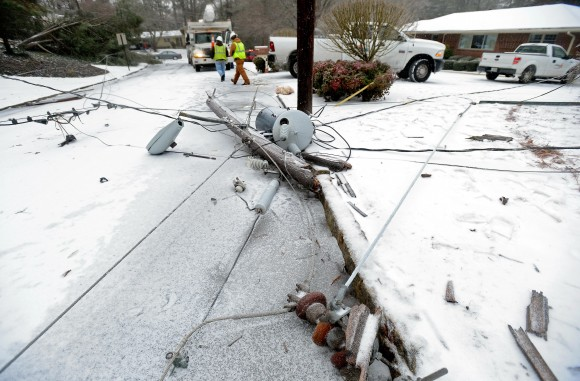Georgia Power Line Downed by Ice Storm (AP Photo)