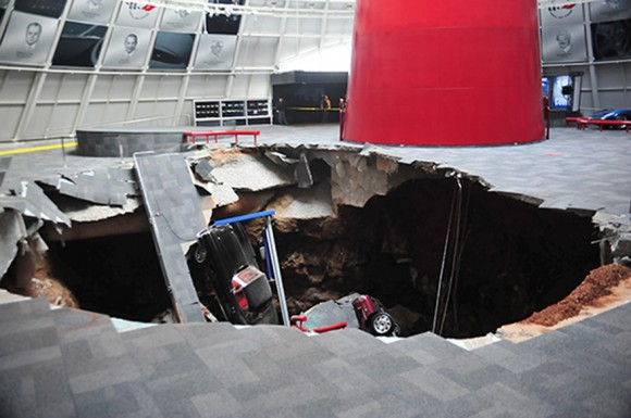 Corvette Museum Sinkhole Damage (AP Photo)