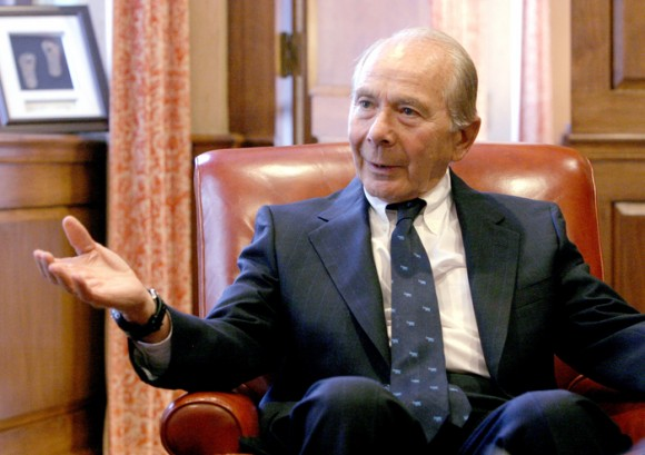 "Maurice ""Hank"" Greenberg,  chairman, president & CEO, American International Group, Inc. (AIG), is seen during an interview in his office in New York, Wednesday, September 22, 2004.  Photographer:  Diane Bondareff/ Bloomberg News."