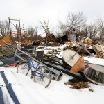 Piles of Debris Caused by the Tornado in Brookport, Illinois